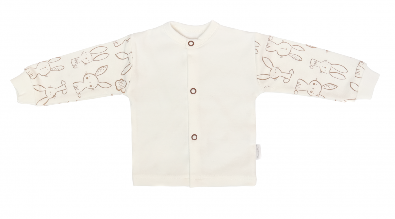 Mamatti Novozenecká bavlněná košilka, kabátek, Králíček - krémová s potiskem