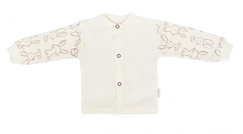 Mamatti Novozenecká bavlněná košilka, kabátek, Králíček - krémová s potiskem, vel. 56