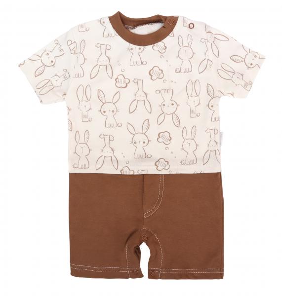 Mamatti Body s nohavičkami Králíček - krémová, hnědá, vel. 74, Velikost: 74 (6-9m)