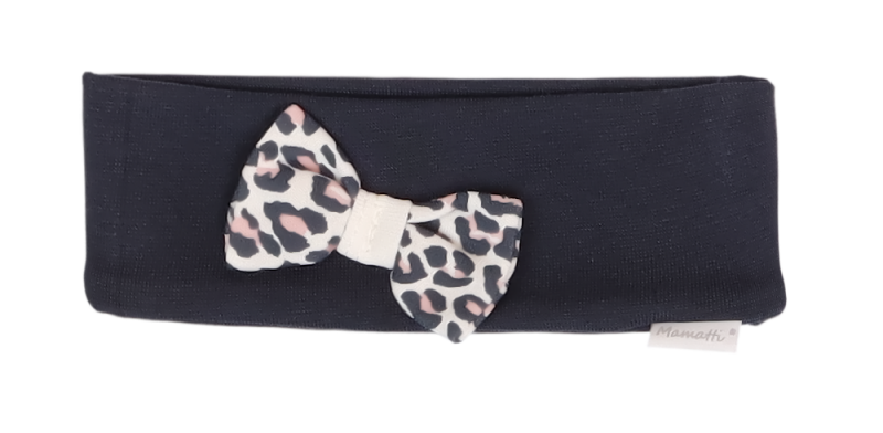 Mamatti Bavlněná dětská čelenka s mašličkou, Gepardík, granátová