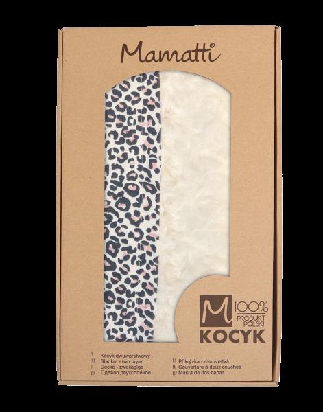 Mamatti Dětská oboustranná bavlněná deka s minky 80 x 90 cm, Gepardík, bílá se vzorem
