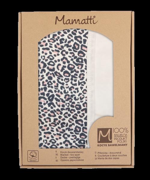 Mamatti Dětská oboustranná bavlněná deka, 80 x 90 cm, Gepardík, bílá se vzorem