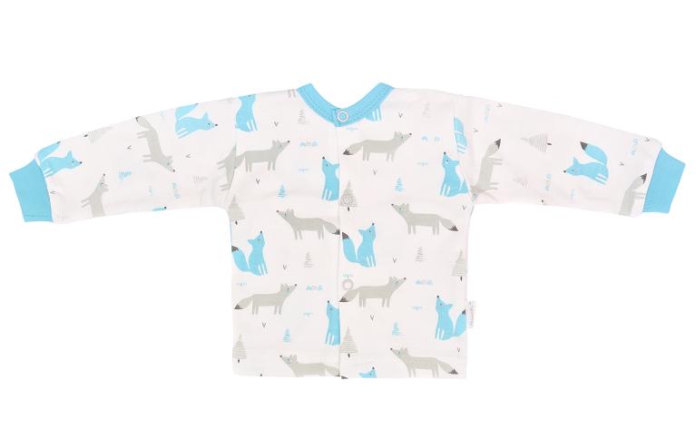 Mamatti Novozenecká bavlněná košilka, kabátek, Liška - bílá s potiskem, vel. 56, Velikost: 56 (1-2m)