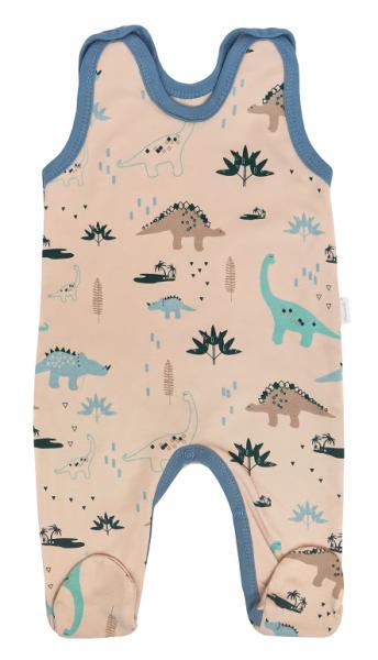 Mamatti Kojenecké dupačky Dinosaurus, krémové s potiskem