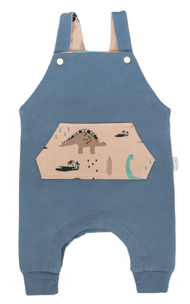 Mamatti Dětské láclové tepláčky Dinosaurus, modré, vel. 68