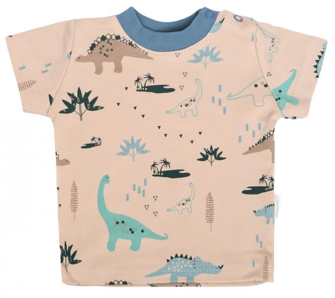 Mamatti Dětské bavlněné tričko kr. rukáv, Dinosaurus - krémové s potiskem