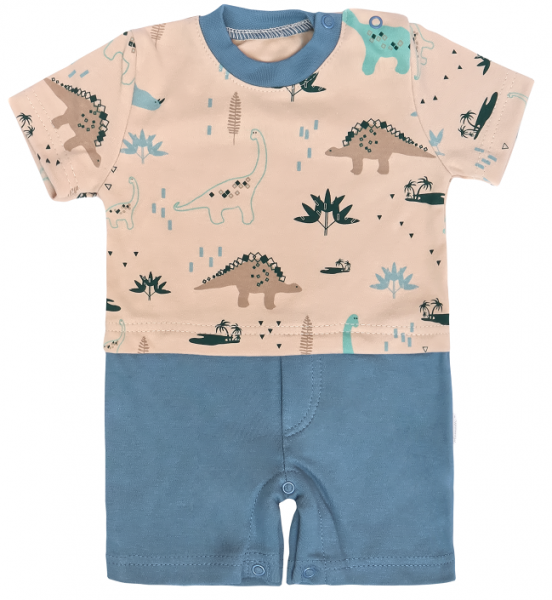 Mamatti Body s nohavičkami Dinosaurus, krémová -modrá, vel. 80