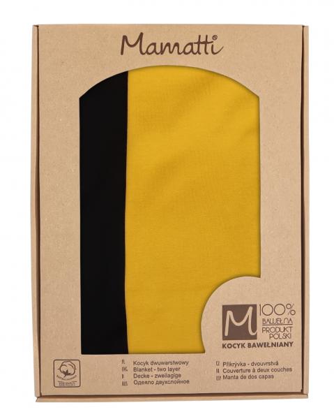 Mamatti Dětská oboust. bavl. deka,  80 x 90 cm, v dárk. krabičce, Mýval - hořčicová, černá