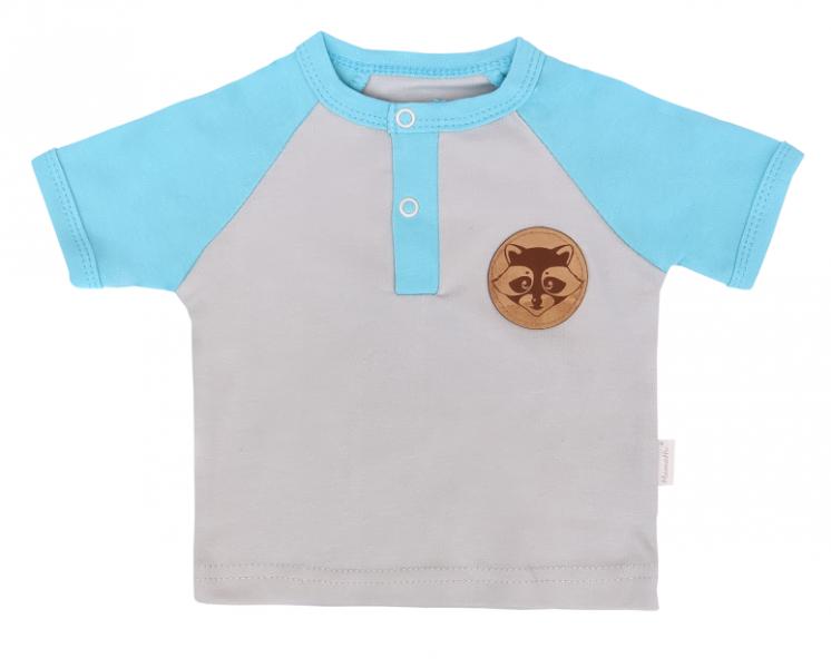 Mamatti Dětské bavlněné tričko kr. rukáv, Liška - šedé, tyrkysové, vel. 98