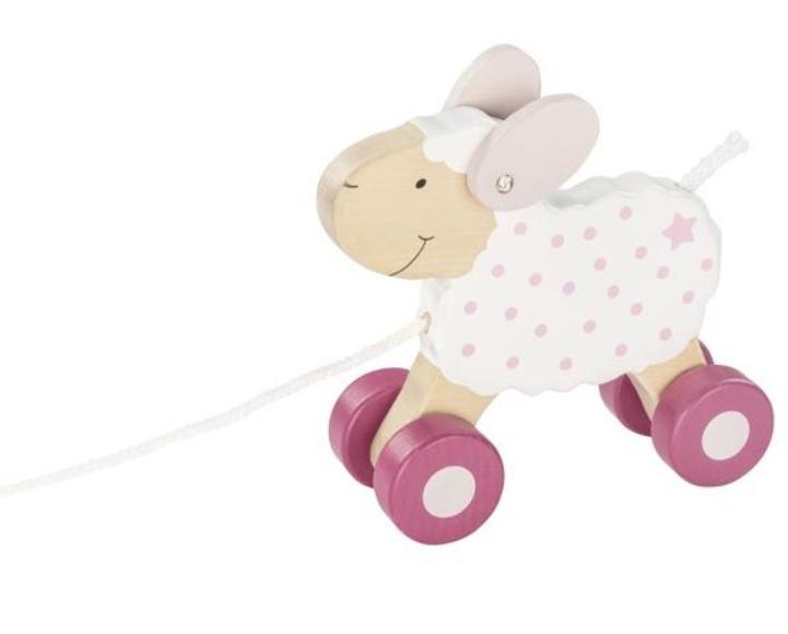 Goki Edukační dřevěná hračka, 17 cm tahací - Ovečka Berry