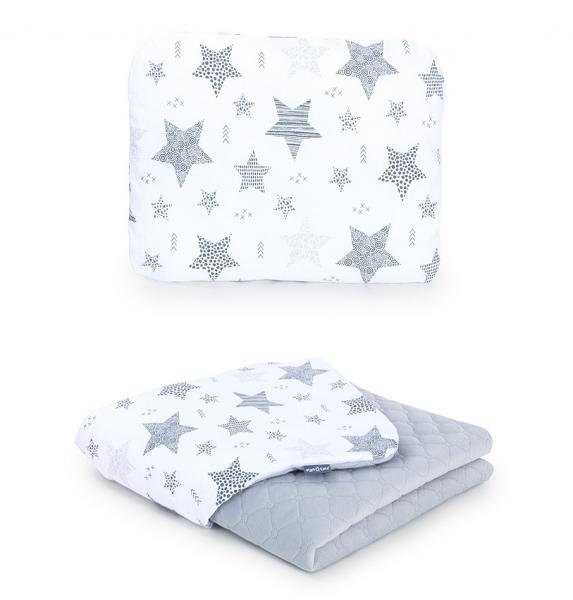 Mamo Tato 2-dílná sada - oboustranná dečka Velvet 75 x 100 cm s polštářkem Starmix, šedá