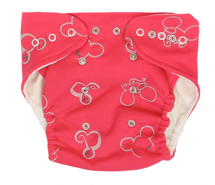Mamatti Látková plenka EKO sada - kalhotky + 2 x plenka, Myška, vel. 5 - 14 kg, červená