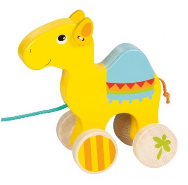 Goki Edukační dřevěná hračka, 17 cm tahací - Velbloud