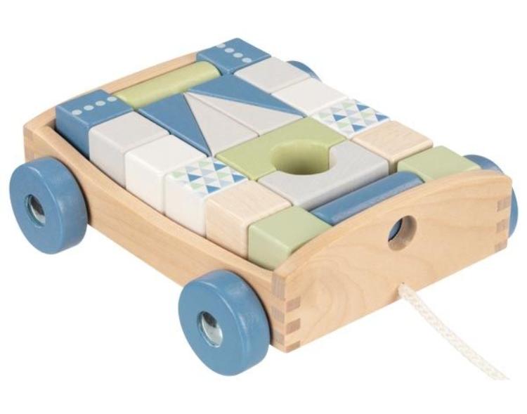 Goki Edukační dřevěná hračka tahací Autíčko s kostkami na šňůrce, 17 x 15 x 63 cm, modré