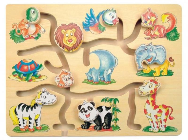 Woody Dřevěný posouvací labyrint - Fantastická zvířátka ZOO