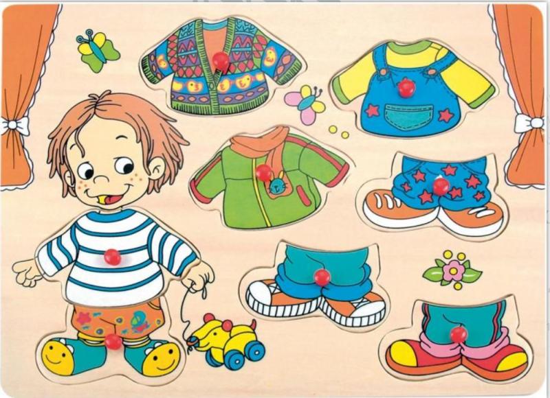 Woody Vkládací - oblékací  puzzle Chlapeček Sebastian - 8 ks