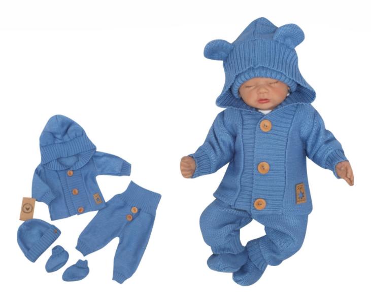 Z&Z 4-dílná kojenecká soupravička, kabátek, tepláčky, čepička a botičky - jeans, vel. 74