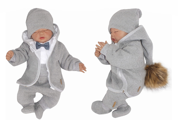Z&Z 5-dílná Luxusní kojenecká soupravička s motýlkem Elegán, šedá