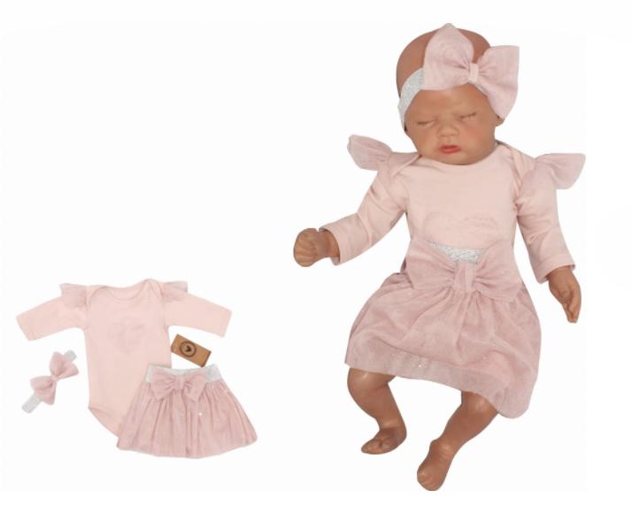 Z&Z 3-dílná soupravička body, tylová suknička a čelenka, růžová