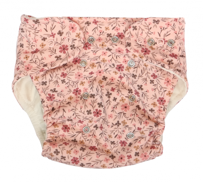 Mamatti Látková plenka EKO sada - kalhotky + 2 x plenka, Květinka, vel. 3 - 8 kg růžová, Velikost: 3 - 8 kg