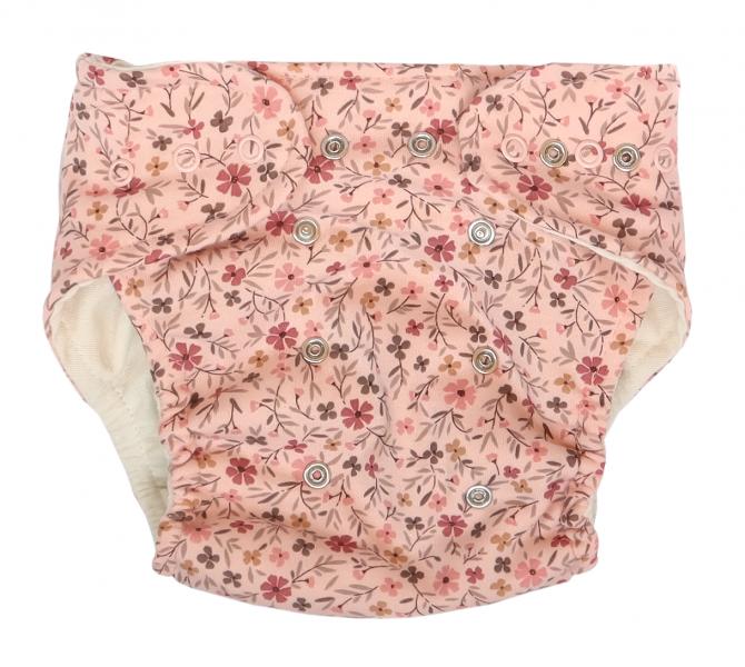 Mamatti Látková plenka EKO sada - kalhotky + 2 x plenka, Květinka, vel. 5 - 14 kg růžová, Velikost: 5 - 14 kg