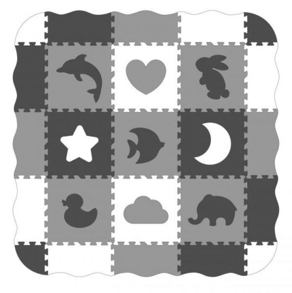 ECO TOYS Dětské pěnové puzzle 122x122cm, hrací deka, podložka na zem Zvířátka, 25 dílů
