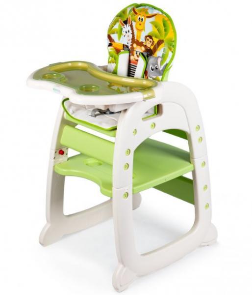 ECO TOYS Jídelní židlička, stoleček 2v1 Safari, zelená