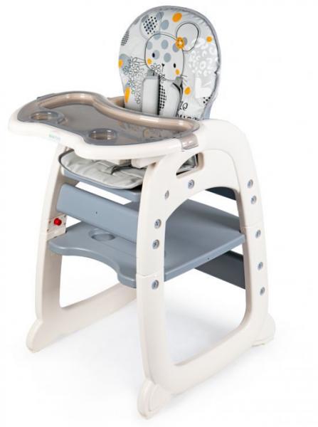 ECO TOYS Jídelní židlička, stoleček 2v1 Myška, šedá