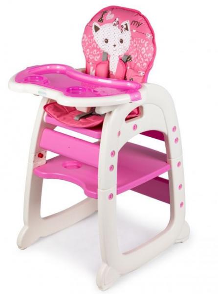 ECO TOYS Jídelní židlička, stoleček 2v1 Kočička, růžová
