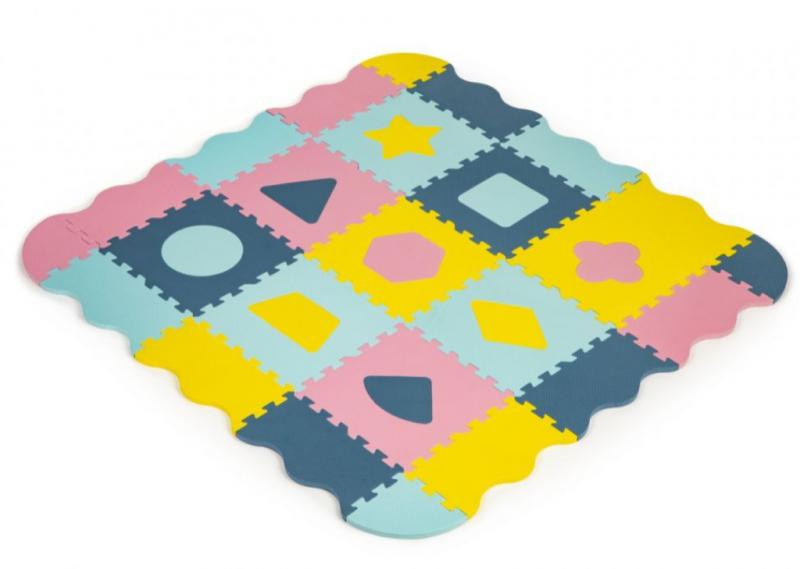 ECO TOYS Dětské pěnové puzzle 121,5x121,5cm, hrací deka, podložka na zem Tvary, 37 dílů