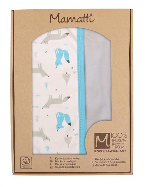 Mamatti Dětská oboustranná bavlněná deka, 80 x 90 cm, Liška, bílá se vzorem