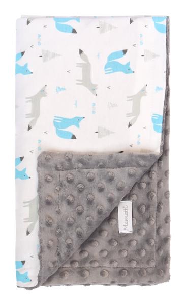 Mamatti Dětská oboustranná bavlněná deka s minky 80 x 90 cm,Liska, bílá se vzorem