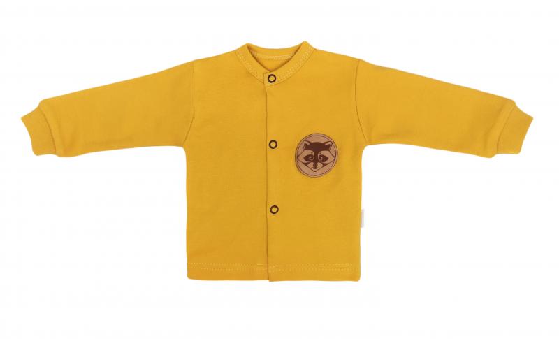 Mamatti Novozenecká bavlněná košilka, kabátek, Mýval - hořčicová, Velikost: 50 (0-1m)
