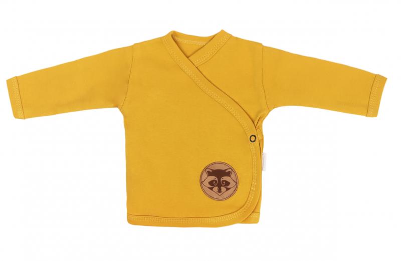Mamatti Novorozenecká bavlněná košilka zapínání bokem, Mýval - hořčicová, vel. 62