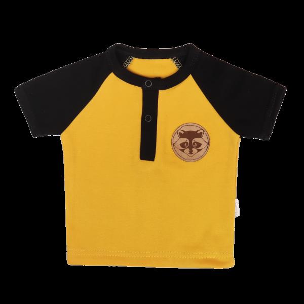 Mamatti Dětské bavlněné tričko kr. rukáv, Mýval - hořčicová, černá, vel. 86