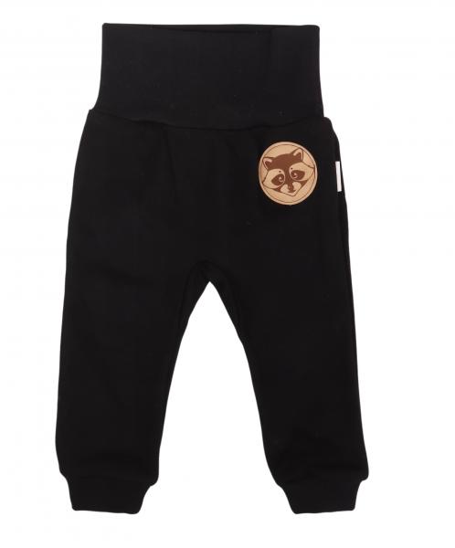 Mamatti Dětské tepláčky s pružným pasem Mýval - černé, vel. 92, Velikost: 92 (18-24m)