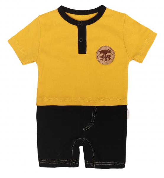 Mamatti Body s nohavičkami Mýval - hořčicová, černá, vel. 74, Velikost: 74 (6-9m)
