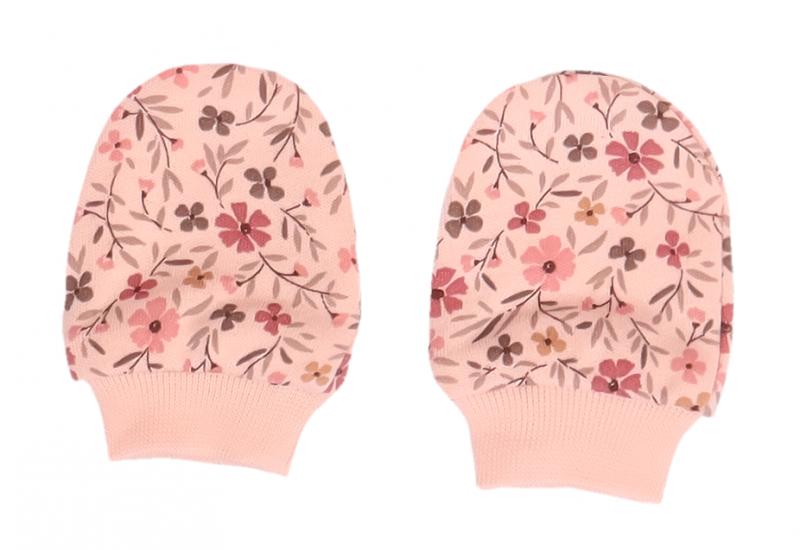Mamatti Kojenecké rukavičky Květinky - růžové s potiskem