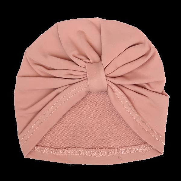 Mamatti Bavlněná  dětská čepice, turban, Květinka - pudrová