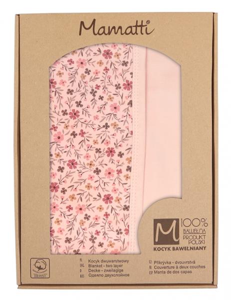 Mamatti Dětská oboustranná bavlněná deka, 80 x 90 cm, Květinka, pudrová s potiskem