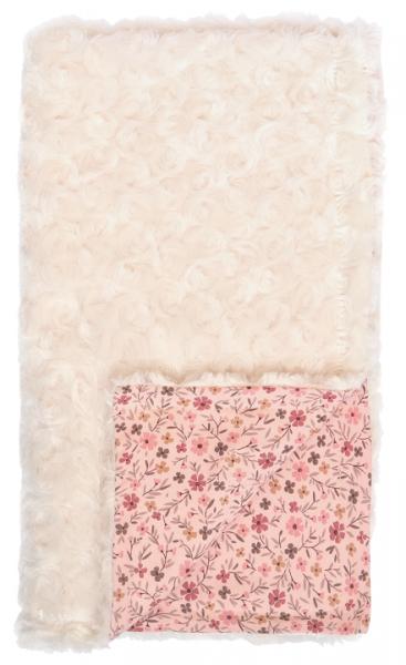 Mamatti Dětská oboustranná bavlněná deka s minky, 80 x 90 cm, Květinka, pudrová s potiskem