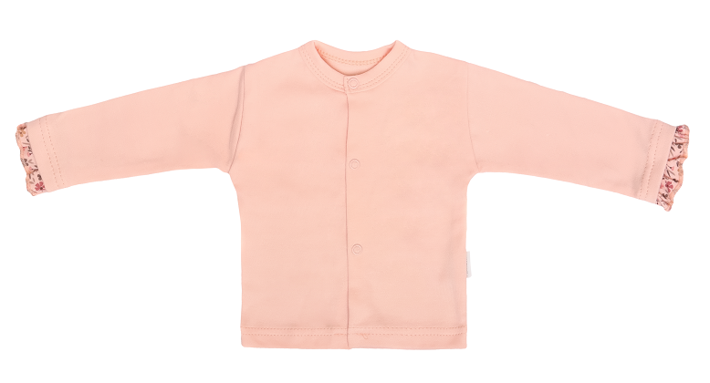 Mamatti Novozenecká bavlněná košilka, kabátek, Květinka - pudrová, vel. 56