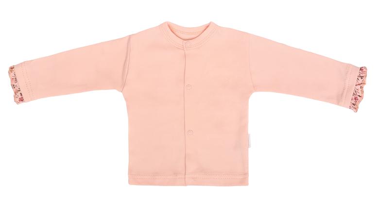 Mamatti Novozenecká bavlněná košilka, kabátek, Květinka - pudrová, vel. 62