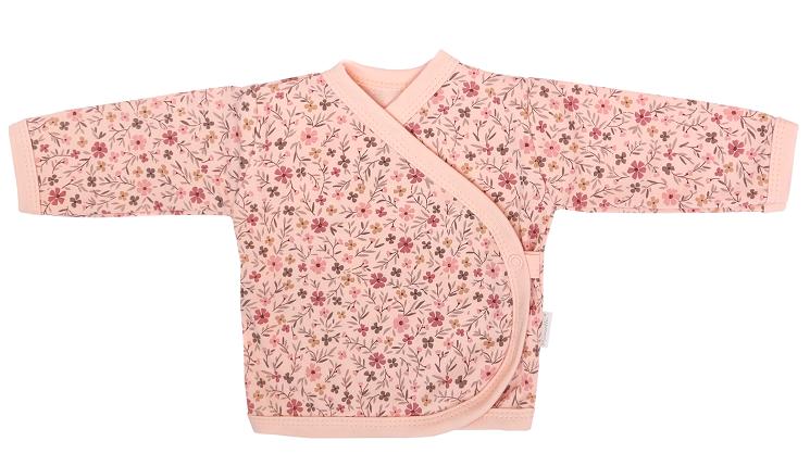 Mamatti Novorozenecká bavlněná košilka zap. bokem, Květinka - pudrová s potiskem, vel. 56