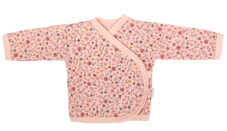 Mamatti Novorozenecká bavlněná košilka zap. bokem, Květinka - pudrová s potiskem, vel. 62