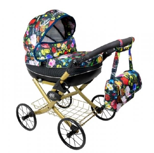 NESTOR Dětský kočárek pro panenky Viki Rose, zlatá konstrukce - barevné květy