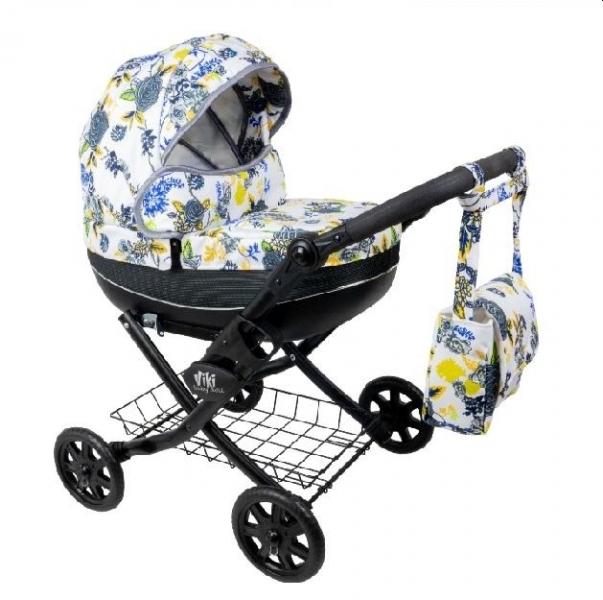 NESTOR Dětský kočárek pro panenky Viki Rose, černá konstrukce - modrá, žlutá