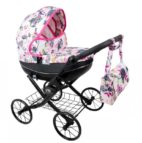 NESTOR Dětský kočárek pro panenky Viki Rose, černá konstrukce - bílo, růžový
