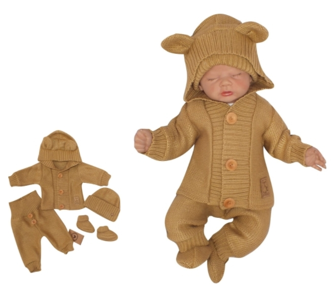Z&Z 4-dílná kojenecká soupravička, kabátek, tepláčky, čepička a botičky - medová, vel. 62