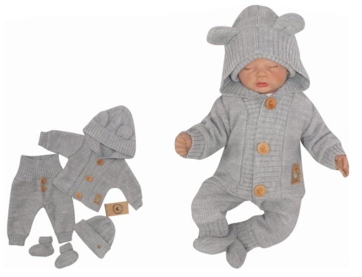 Z&Z 4-dílná kojenecká soupravička, kabátek, tepláčky, čepička a botičky - šedá